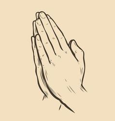Praying hands palms folded together sketch vector