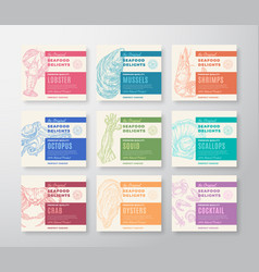 Premium quality seafood labels set abstract vector
