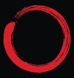 red blood zen enso circle art brush design vector image
