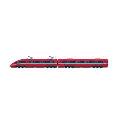 red modern railway locomotive and passenger wagon vector image