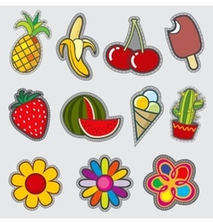 Retro badge patches fun trendy stickers vector