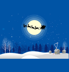 Santa claus silhouette moonlight vector