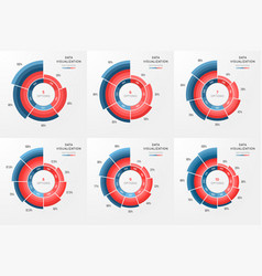 Set of circle chart infographic template vector