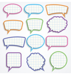Set of colorful paper speech bubbles vector