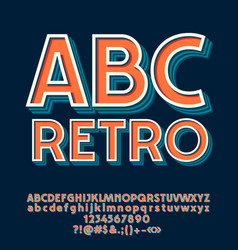 set of retro letters numbers and symbols vector image