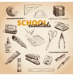 Set of school items vector
