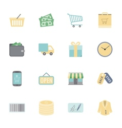 Shopping flat icons set vector image vector image