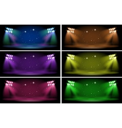 Stage with six color backgrounds vector image