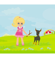 sweet girl and her puppy vector image