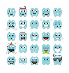 Teeth with different emotions vector