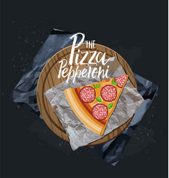 the pepperoni pizza slice without background vector image