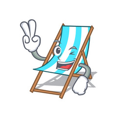 two finger beach chair character cartoon vector image
