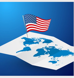usa flag on blank world map abstract blue travel vector image