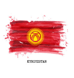watercolor painting flag of kyrgyzstan vector image