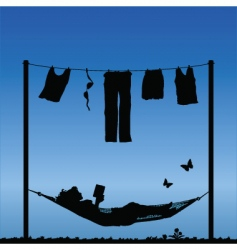 woman in hammock vector image
