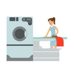 Woman ironing laundry part of people using vector
