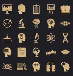 world knowledge icons set simple style vector image