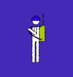 flat shading style icon soldier holding walkie vector image