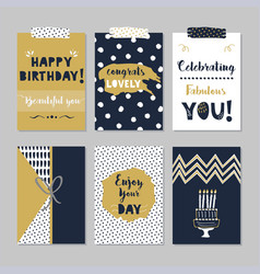 golden and navy blue happy birthday mini cards set vector image vector image