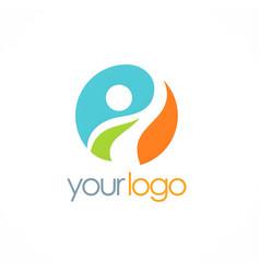 happy man success logo vector image vector image