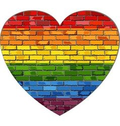 LGBT flag on a brick wall in heart vector image