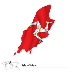 Map of Isle of Man with flag vector image vector image