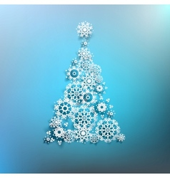 Paper christmas tree made from snowflakes EPS 10 vector image