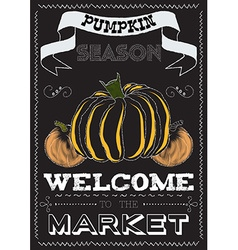 Poster with a pumpkin theme on the market vector image