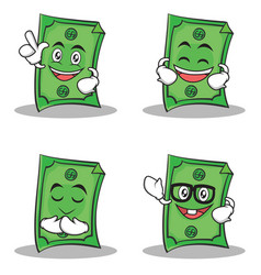 set of dollar character cartoon style collection vector image vector image