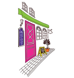 Street cafe front sketch vector