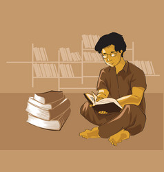 student reading book in library education vector image