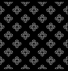 blockchain cubes outline seamless pattern vector image vector image