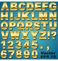 Gold Letters and Numbers vector image vector image