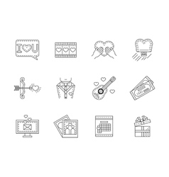 Love flat line icons collection vector image