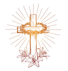 Crown of thorns wooden cross and floral blooming vector
