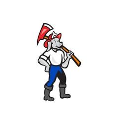 Dog Fireman Firefighter Fire Axe Cartoon vector image