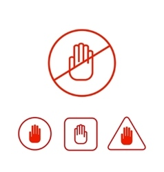 Set of stop hand icons vector image