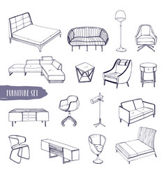 set of various furniture hand drawn different vector image vector image