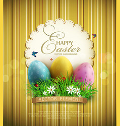 vintage background with easter eggs green grass vector image