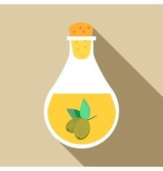 Bottle with olive oil icon flat style vector image vector image