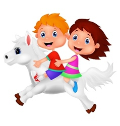 Cartoon Boy and girl riding a pony horse vector image