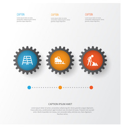 Construction icons set collection of builder vector
