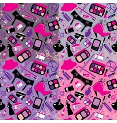Cosmetics and makeup seamless pattern Elements vector image vector image