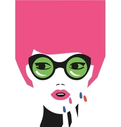 fashion girl art in minimalistic hipster vector image