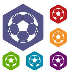 football or soccer ball icons set hexagon vector image