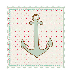 frame with silhouette of anchor with background vector image