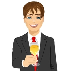 young handsome businessman toasting vector image vector image