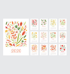 2020 year calendar design week start on sunday set vector image
