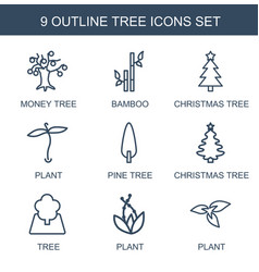 9 tree icons vector