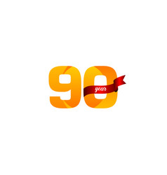 90 years anniversary celebration yellow with red vector